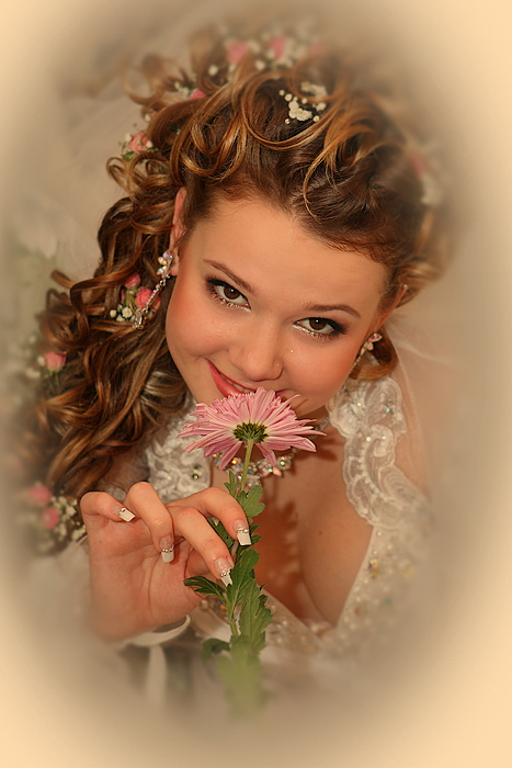 Girl giving flowers Graphics